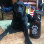 A growler with paws with a Paw Paw growler.